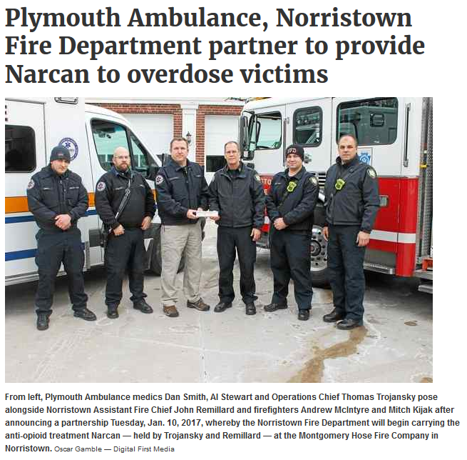 Norristown Fire Department Now Carries Narcan